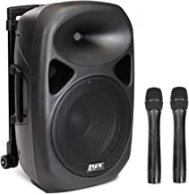 LyxPro 12 Inch Active PA Rechargeable Battery Speaker System, Bluetooth, MP3, USB, SD Card Slot, Foldable Carry Handle, Easy Carry Wheels-SPA-12 BAT