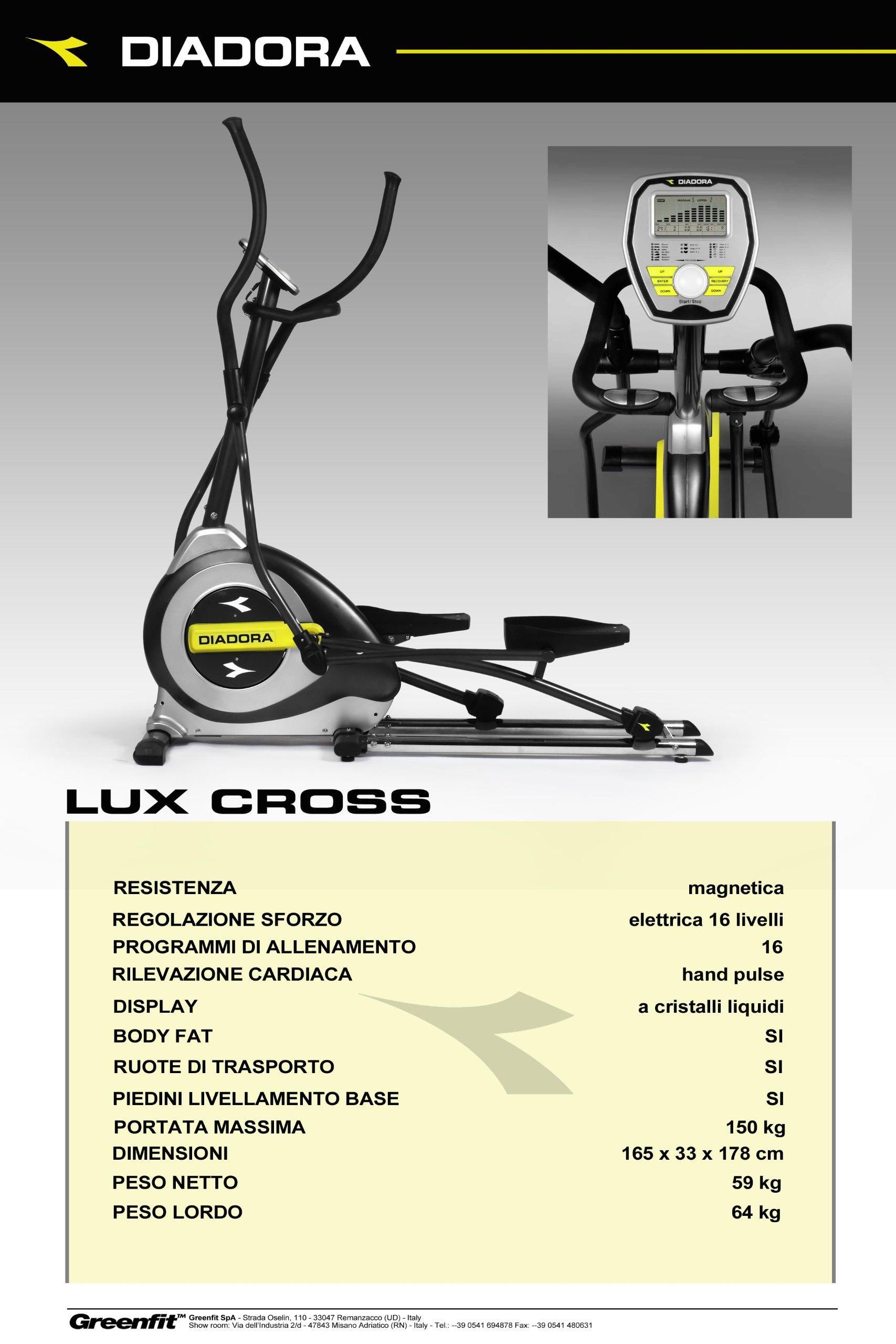 Diadora - Bicicleta elíptica Lux Cross, color azul: Amazon.es ...