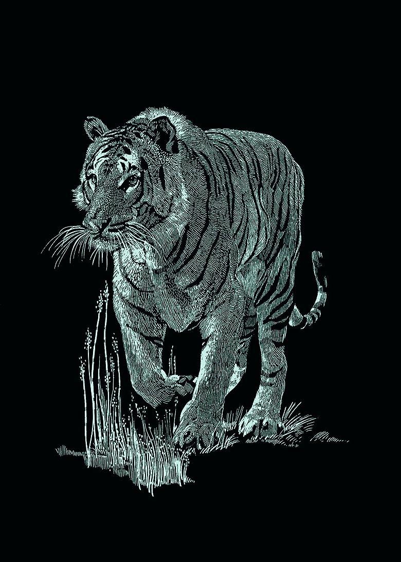 Mammut 130006 - Kratzbild Mini. Silber - Tiger, 11 x 18 cm