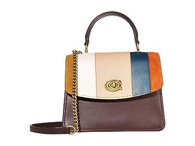 COACH Patchwork Stripe Parker Top-Handle (Oxblood Multi/Brass) Handbags