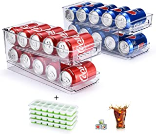 2-Tier Can Organizer[2 Pack], come with 4 Pcs Ice Cube Trays, GGIANTGO Soda Can Organizer for Refrigerator/Freezer/Kitche...