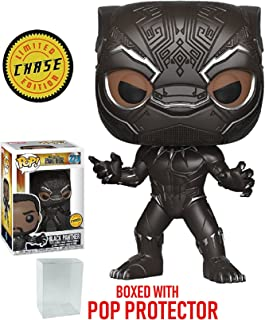 Funko Pop! Marvel: Black Panther - Masked Black Panther Limited Edition CHASE variant Vinyl Figure (Bundled with Pop BOX PROTECTOR CASE)