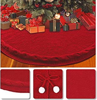 Aitsite Christmas Tree Skirt 48 Inch Rustic Knitted Xmas Tree Skirt for Christmas Decorations Indoor Outdoor (Red)