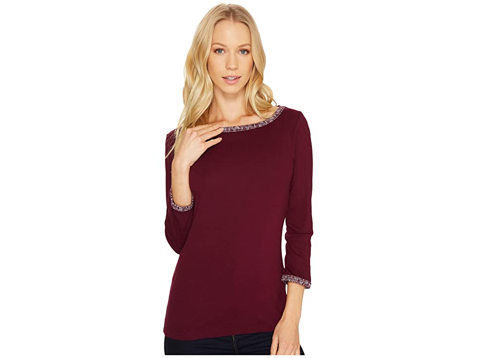 Three Dots Tweed Knit Ballerina Neck 3/4 (Boysenberry) Women