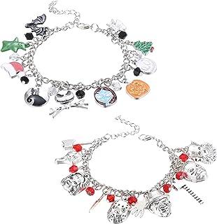 JOERICA 2 Pcs Charm Bracelet for Women Horror Bracelet Halloween Jewelry Bracelet Set