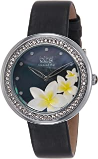 Burgi Women's Bur116Rd Diamond-Accented Watch With Satin Band, Analog Display