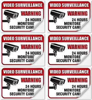 (6 Pack) 24 Hour Video Surveillance Sign, 2½x3½