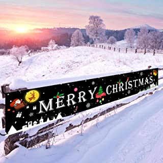 Merry Christmas Banner, Black Large Signs Outdoor Christmas Decorations for Yard Wall..