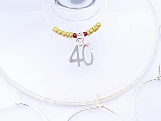 40th Birthday themed Wine Charms, Turning Forty, Fortieth Birthday, number 40 charm, Set of 6. BURGUNDY and GOLD BEADS.