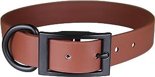 "OmniPet Zeta Regular Dog Collar with Black Metal Hardware, 3/4"" x 24"", Brown"