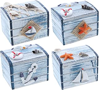 SandT Collection 3 Inch Nautical Theme Treasure Chest Trinket Box - Mixed Set of 4