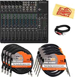 Mackie 1402VLZ4 14-Channel Compact Mixer Bundle with XLR Cables, Instrument Cables, Stereo Breakout Cable, and Austin Bazaar Polishing Cloth