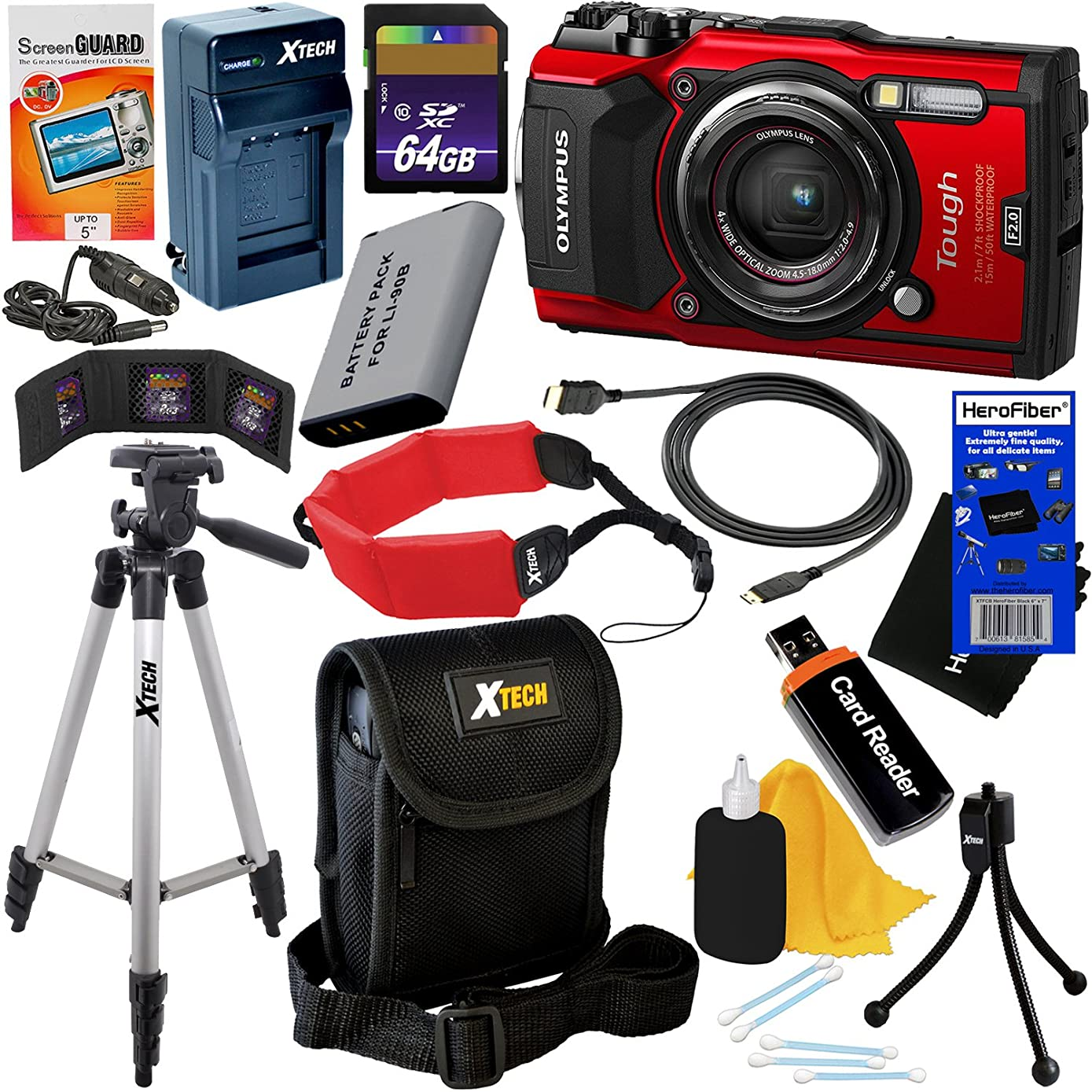 Olympus Tough TG-5 Waterproof, Shockproof, Freezeproof & Crushproof Wi-Fi Digital Camera with GPS & HD 4K Video, Red (International Version) + Battery & Charger + 11pc 64GB DLX Kit w/HeroFiber Cloth