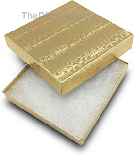 The Display Guys~ Pack of 100 Cotton Filled Cardboard Paper Gold Jewelry Box Gift Case -Gold Foil (3 1/2x3 1/2x1 inches #33)