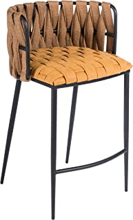 Statements by J Milano Counter Chair Yellow 35 Inch Tall Modern Contemporary Solid Iron