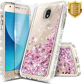 NageBee Samsung Galaxy J3 2018 Case, J3 Orbit/J3 Achieve/J3 Star/Express Prime 3/Amp Prime 3/Sol 3/J3 V 3rd Gen/J3 Aura with Screen Protector, Glitter Liquid Girls Women Kids Cute Case -Rose Gold