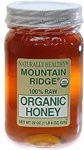 USDA Organic Mountain Ridge Honey - 22 oz of 100% Pure Raw Honey in Glass Mason Jar.