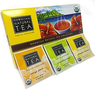 Organic Hawaiian Natural Tea Box Gift Set, Hawaii Islands Collection Black White Green, Variety 24 pillow tea bags