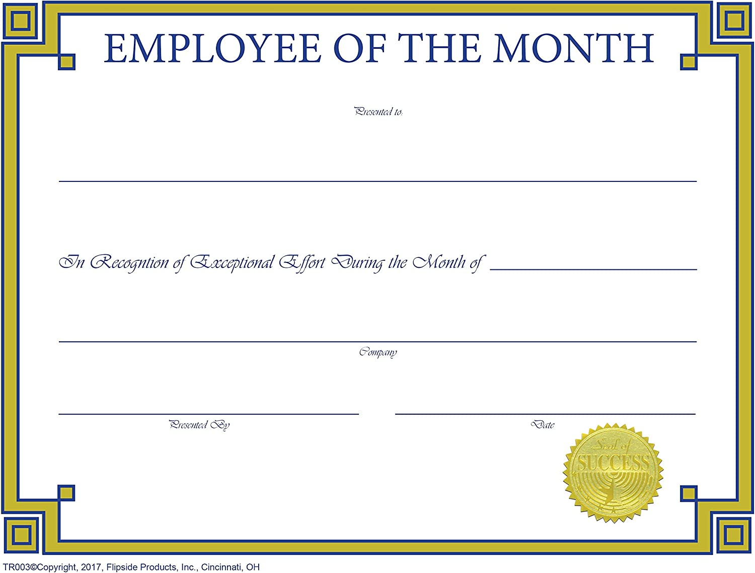 Employee of The Month Certificate Fees free!! Matte Traditional - Rare Pap Series