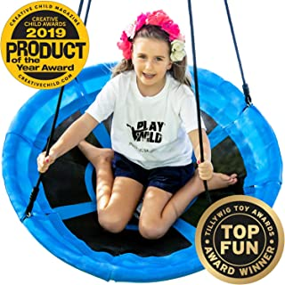 """Saucer Tree Swing - 40"""" Round Swing Set - Attaches to Trees or Existing Swing Sets - Create Your Own Outdoor Backyard Playground - Adjustable Hanging Ropes - for Kids, Adults and Teens - Blue"""