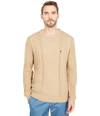 Nautica Classic Fit Cable Knit Sweater (Sandy Bar Heather) Men