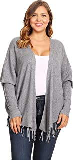 C.O.C. Curve Womens Plus Size Rib Knit Long Body Cardigan Grey - 2X