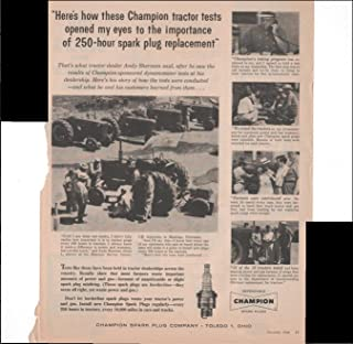 Champion Spark Plugs Tractor Tests Nebraska 1960 Vintage Antique Advertisement