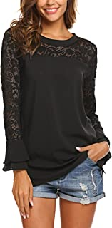 Womens Lace Casual Tunic Tops 3/4 Ruffle Bell Sleeve Blouses Shirts S-XXL