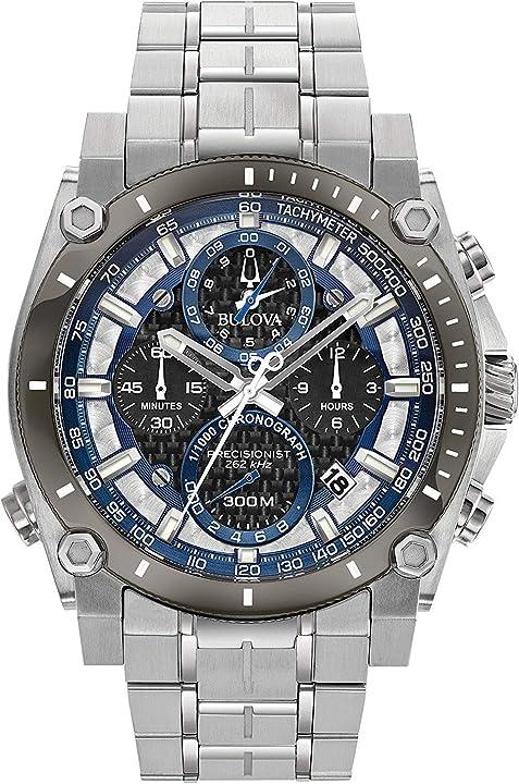 Orologio bulova cronografo quarzo uomo con cinturino in acciaio inox 98b316