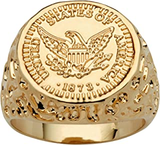 Men's 14K Yellow Gold Plated American Eagle Coin Replica Nugget Ring