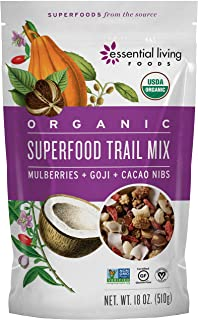 Essential Living Foods Organic Superfood Trail Mix, Figs, Mulberries, Goji Berries, Coconut, Cashews, Brazil Nuts, Cacao Nibs, Vegan, Superfood, Non-GMO, Gluten Free, 18 Ounce Resealable Bag