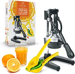 Zulay Professional Citrus Juicer - Manual Citrus Press and Orange Squeezer + 2 in 1 Metal Lemon Squeezer COMPLETE SET - Premium Quality Heavy Duty Manual Orange Juicer and Lime Squeezer Press Stand