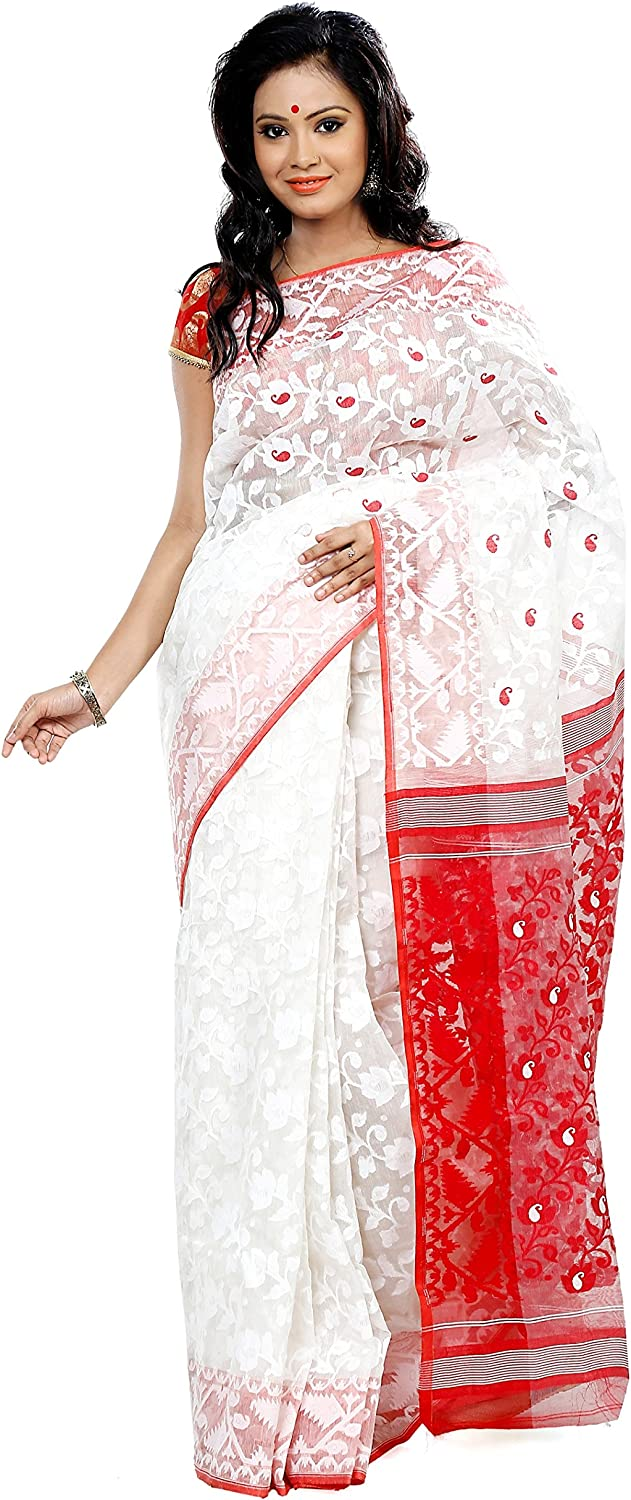 B3Fashion Cotton Silk Saree (Ags284_White & Red)