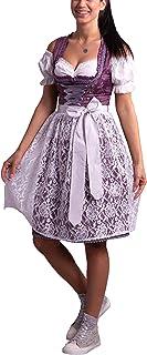 Golden Trachten Kleid Dirndl Damen 3 TLG, Midi für Oktoberfest, mit Schürze und Bluse Lila geblümt,540GT