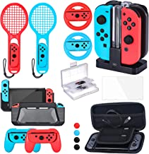 Zadii Accessories Bundle Compatible with Nintendo Switch, Accessories Kit with Tennis Racket, Steering Wheel, Joy-con Grip...