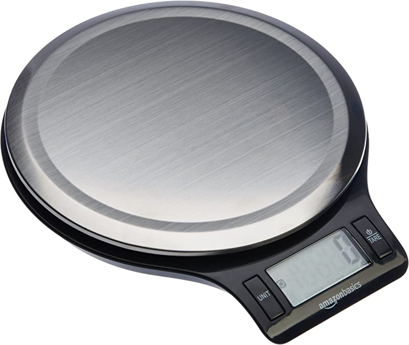 AmazonBasics Stainless Steel Digital Kitchen Scale With LCD Display Batteries Included