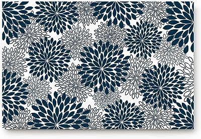 CHARMHOME Dahlia Pinnata Flower Antique Colorful Navy Blue White Doormats Entrance Mat Floor Mat Door Mat Rug Indoor/Front Door/Bathroom Mats Rubber Non Slip 18 x 30 inch