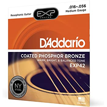 D'Addario EXP42 Coated Phosphor Bronze Acoustic Guitar Strings, Light, 16-56 – Offers a Warm, Bright and Well-Balanced Acoustic Tone and 4x Longer Life - With NY Steel for Strength and Pitch Stability