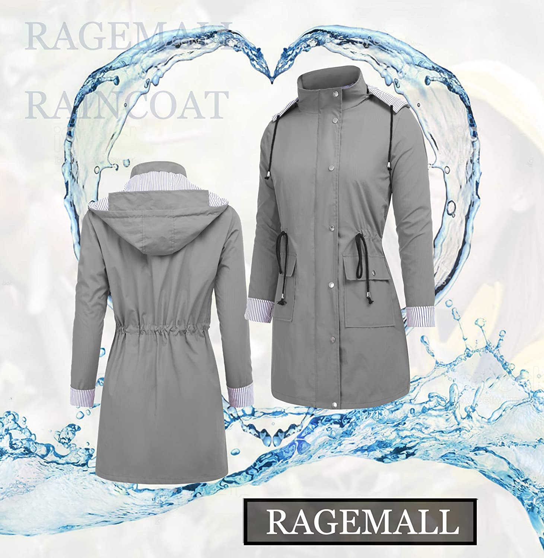 RAGEMALL Womens Raincoats Windbreaker Rain Jacket Waterproof Lightweight Outdoor Hooded Trench Coats