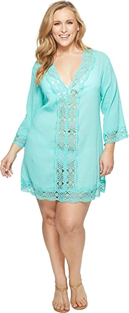 La Blanca - Plus Size Island V-Neck Tunic Cover-Up
