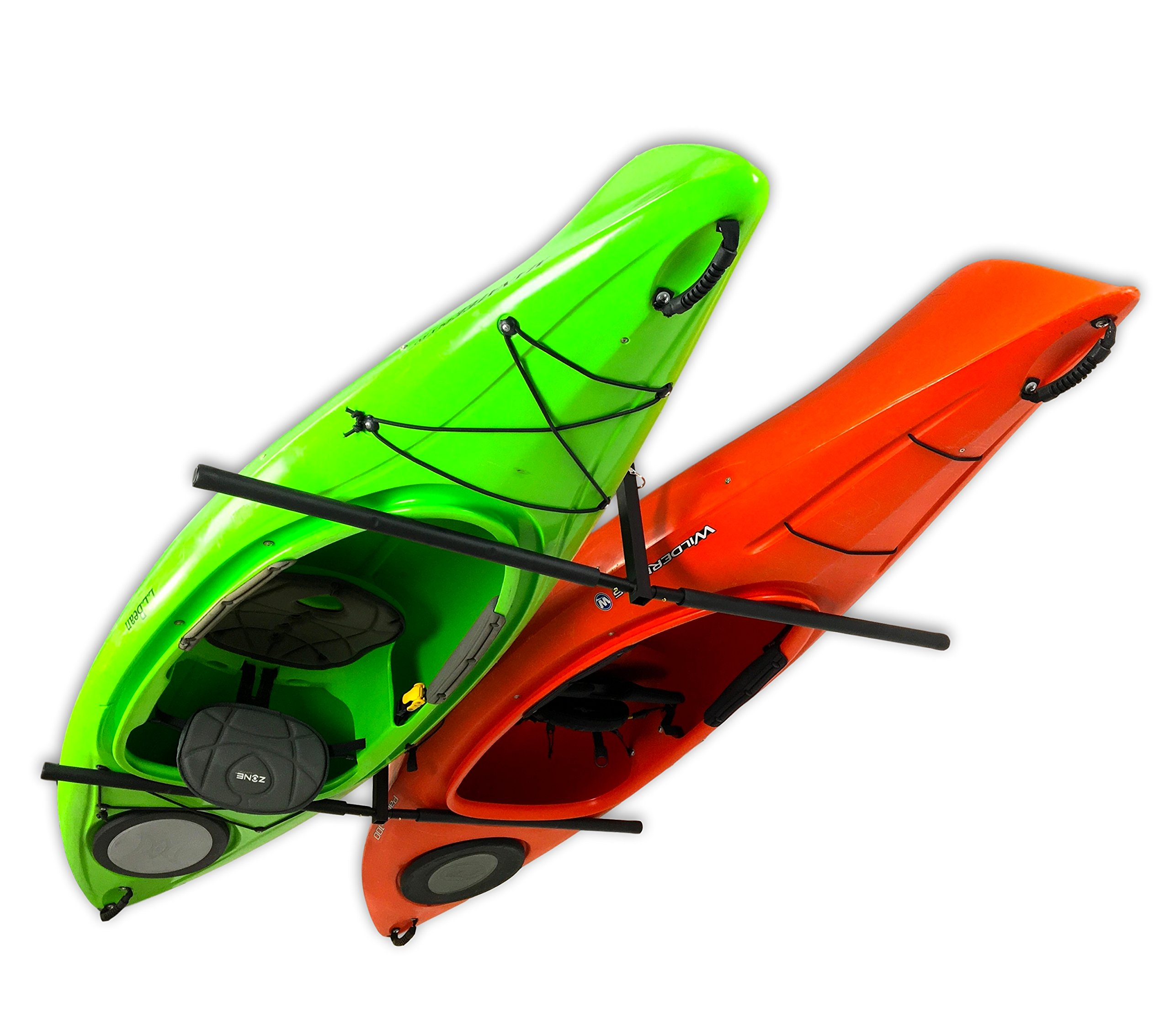 Amazon Com Storeyourboard 2 Kayak Ceiling Rack Hi Port 2 Storage Hanger Overhead Mount Adjustable Extra Large 30 Arms Sports Outdoors