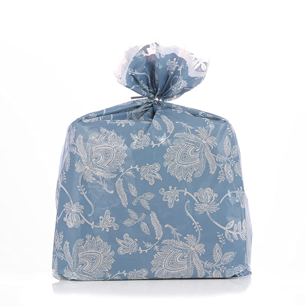 Reusable Blue Toile Plastic Christmas Gift Wrap Bags - Reuse as Pretty Trash Bags - 4 Count - 21