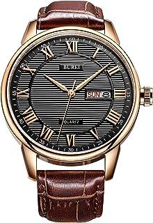 Men's Classic Quartz Wristwatch with Protective Mineral Glass Day Date Calendar Big Roman Numerals Texture Design