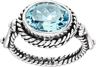 Silpada 'Torrington' Natural Blue Topaz Twisted Rope Ring in Sterling Silver