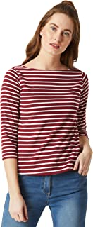Miss Chase Women's Casual Boat Neck Cotton Striped Regular Fit Top