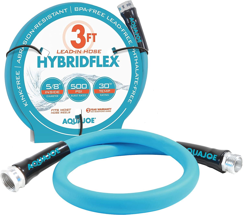 Aqua Joe AJPGH03-PRO HYBRIDFLEX Lead-in Hose, 5/8-Inch x 3-Foot, 500 PSI Burst Rating, Blue