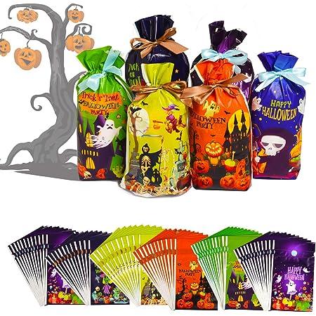 Joyjoz 72 Pz Sacchetti di Caramelle di Halloween, Sacchetti di Dolcetto o Scherzetto di Halloween,Bomboniere di Halloween Articoli per Feste, Decorazioni di Halloween (6 Disegni)