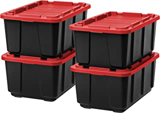IRIS 27 Gallon Utility Tough Tote, 4 Pack, Black with Red Lid (1 Pack)