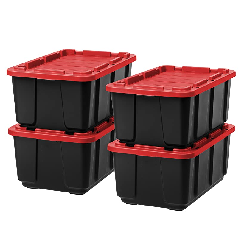 IRIS 27 Gallon Utility Tough Tote, 4 Pack, Black with Red Lid
