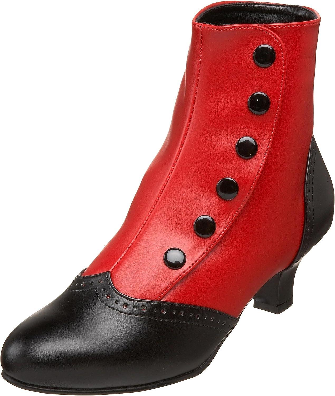 Bordello Flora-1023 Burlesque Burlesque Retro-Stiefeletten Schwarz Rot  das Neueste